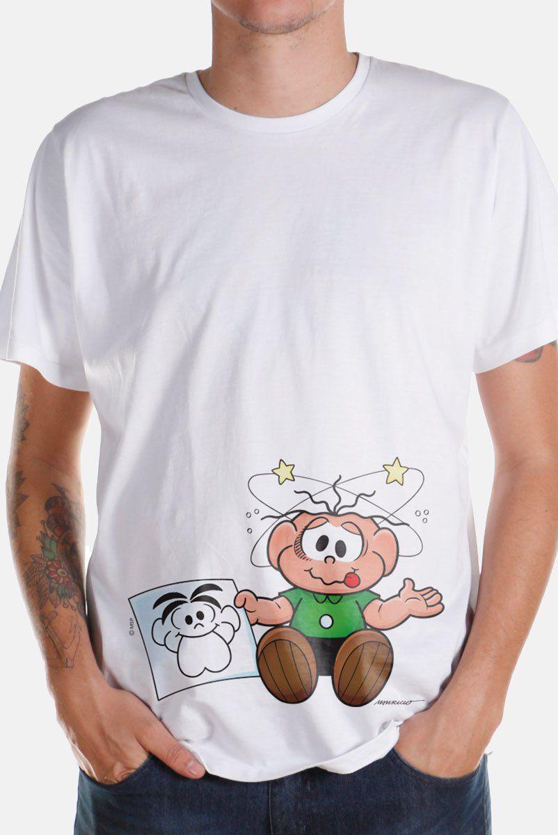 Camiseta Masculina Turma Da Mônica O Cebolinha Apanhou!