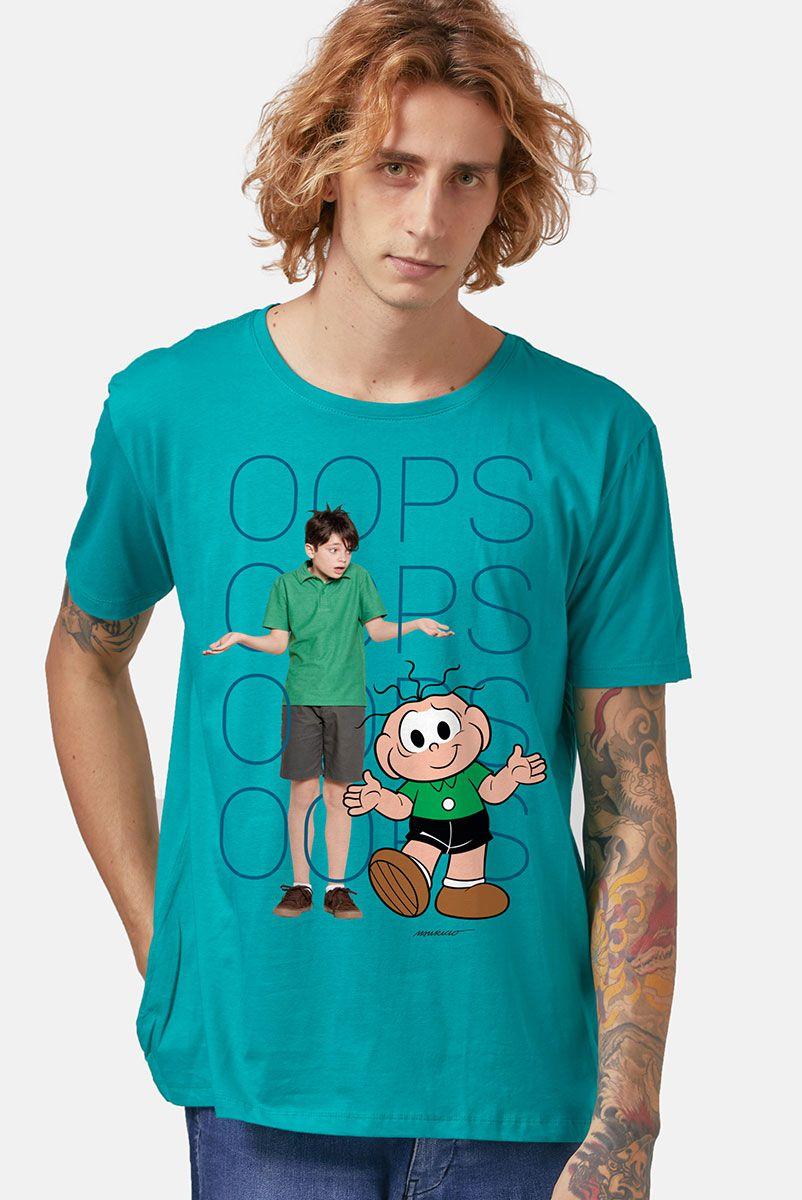 Camiseta Masculina Turma da Mônica Laços Cebolinha OOPS