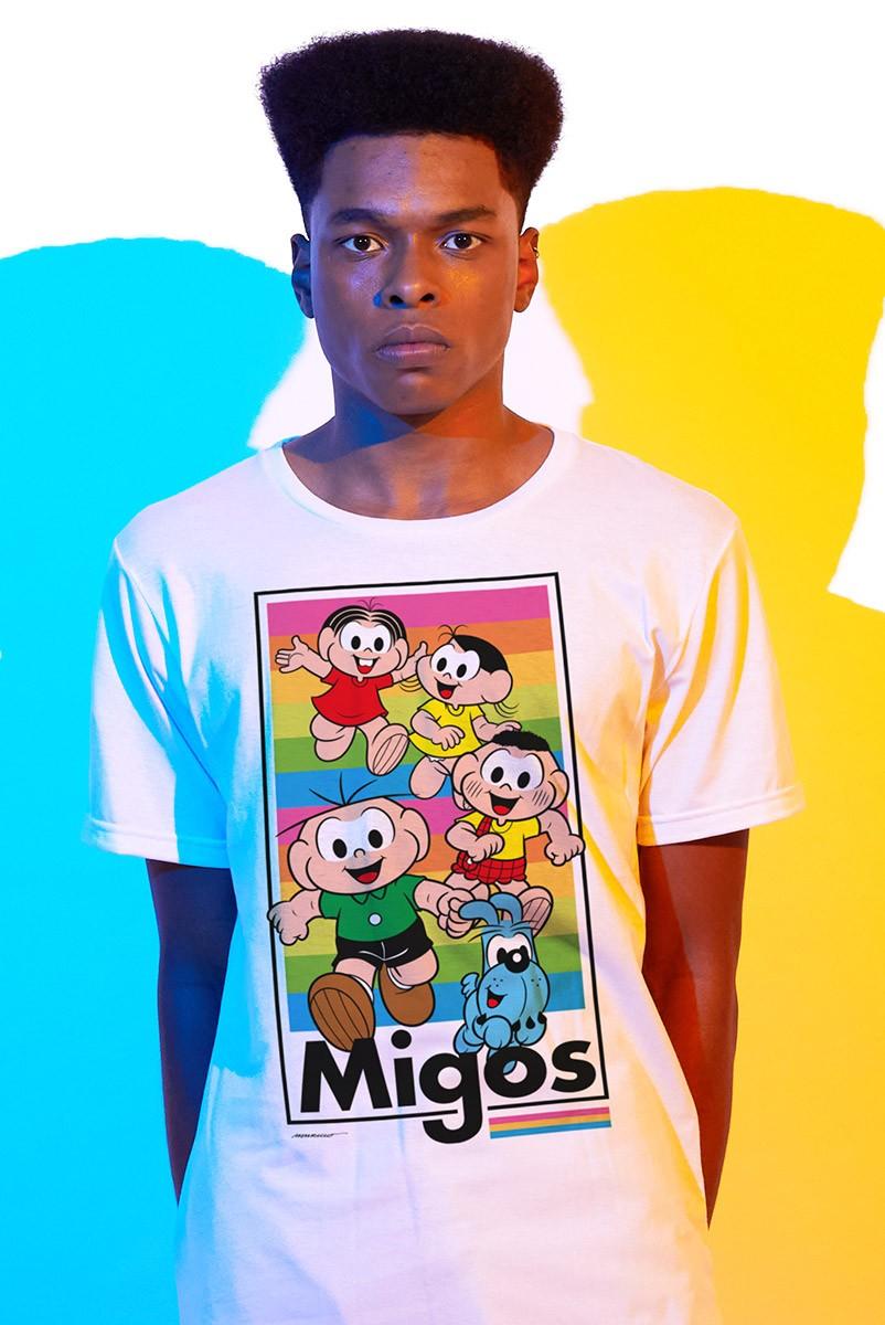 Camiseta Masculina Turma da Mônica Migos
