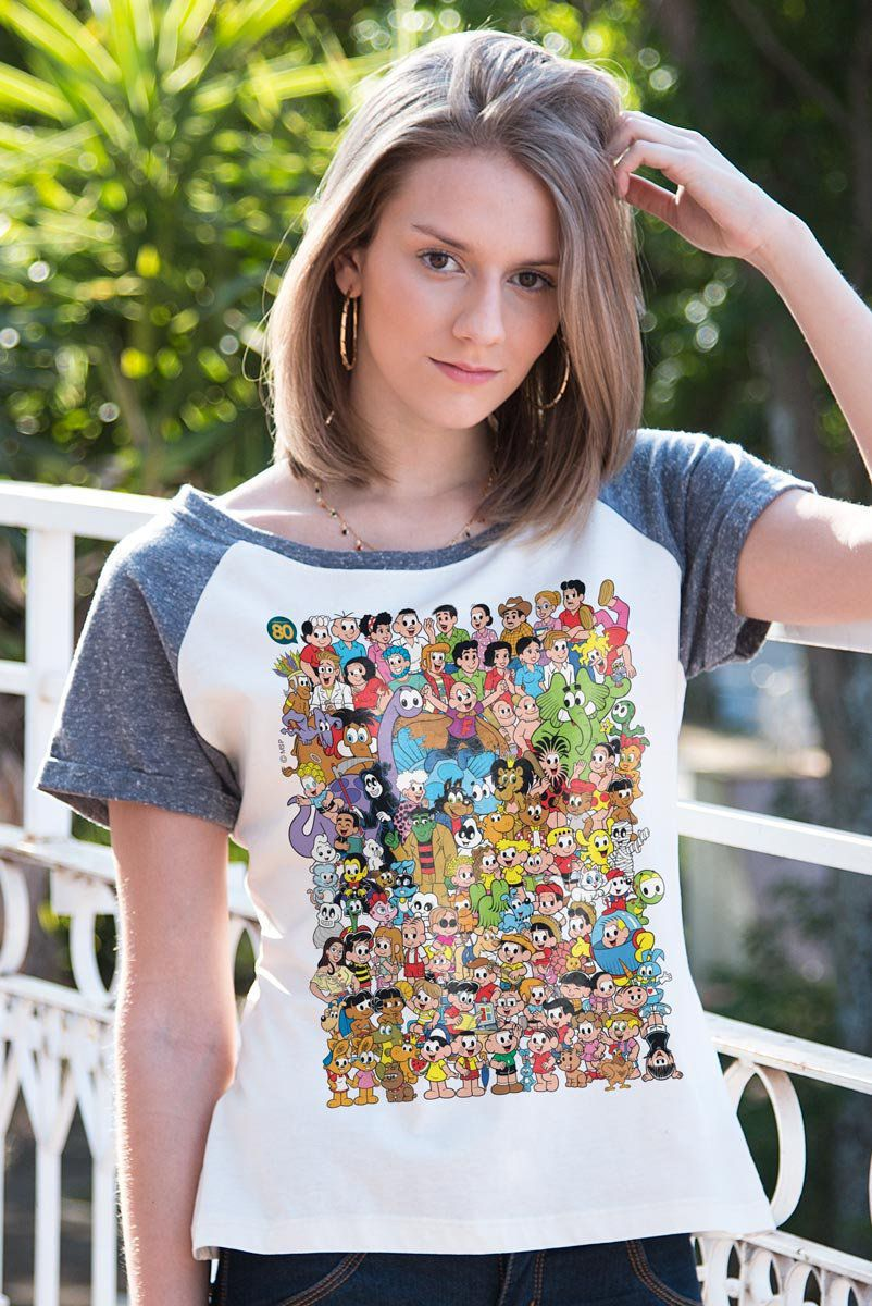 Camiseta Raglan Feminina Maurício de Sousa 80 Anos