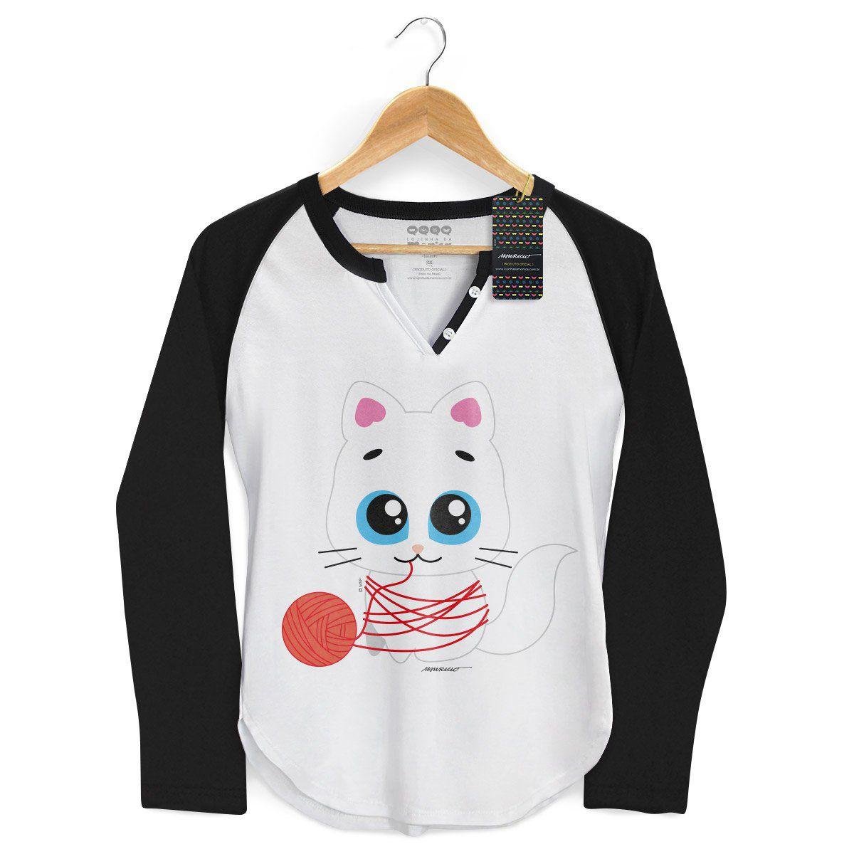 Camiseta Raglan Feminina Turma da Mônica Toy Mingau Lã
