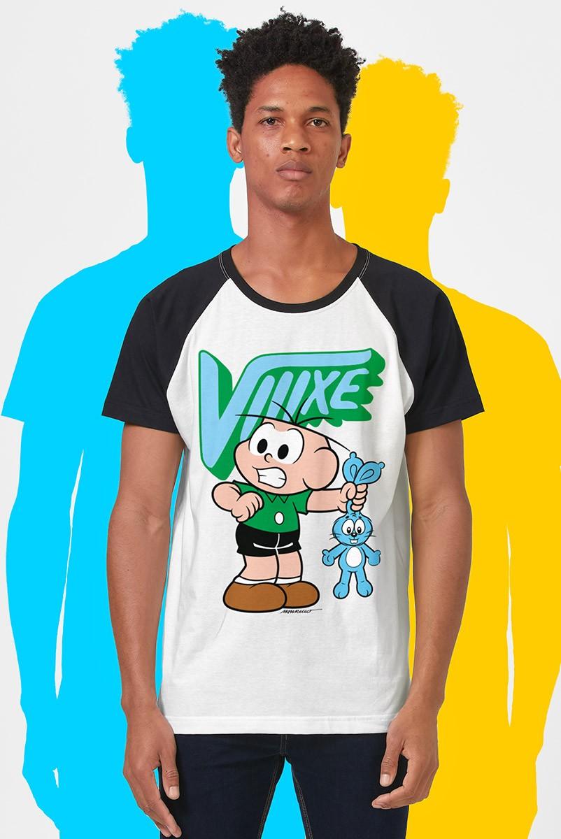 Camiseta Raglan Masculina Turma da Mônica Cebolinha Viiixe