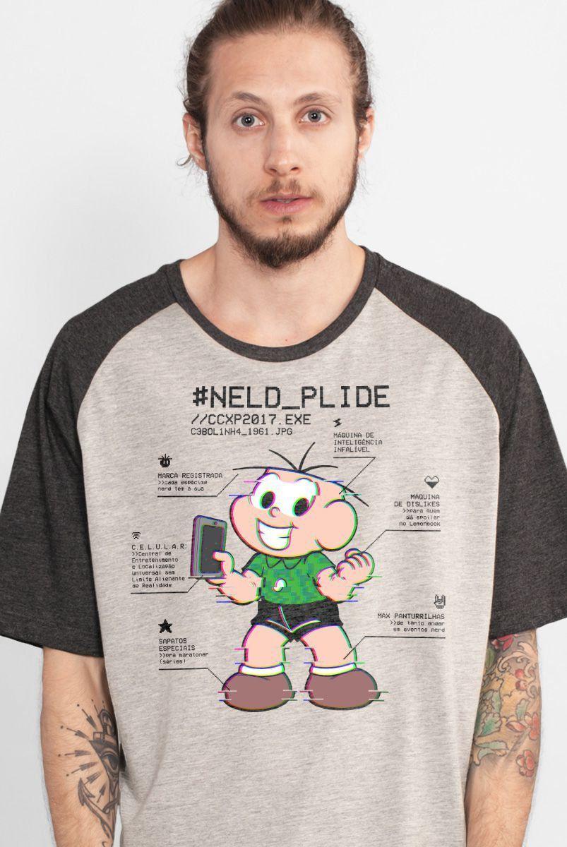 Camiseta Raglan Masculina Turma da Mônica Neld Plide