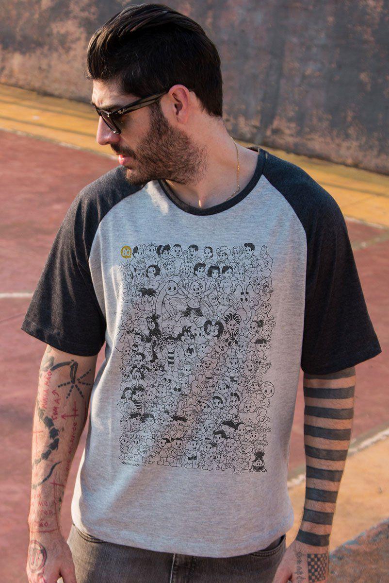 Camiseta Raglan Premium Masculina Mauricio de Sousa 80 Anos P&B