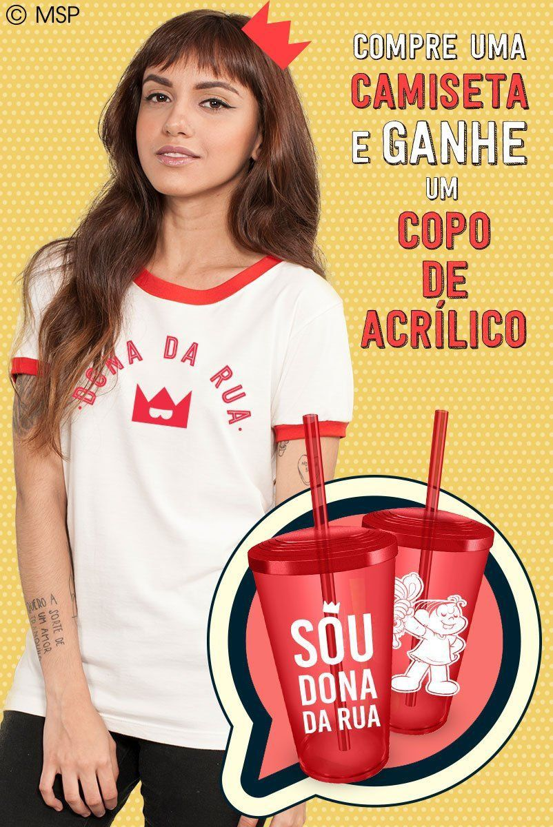 Camiseta Ringer Feminina Turma da Mônica Dona da Rua