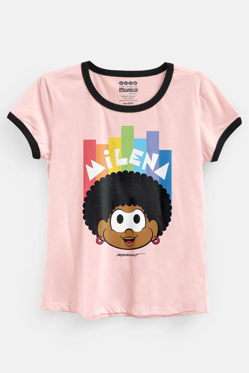 Camiseta Ringer Feminina Turma da Mônica Milena Black Power