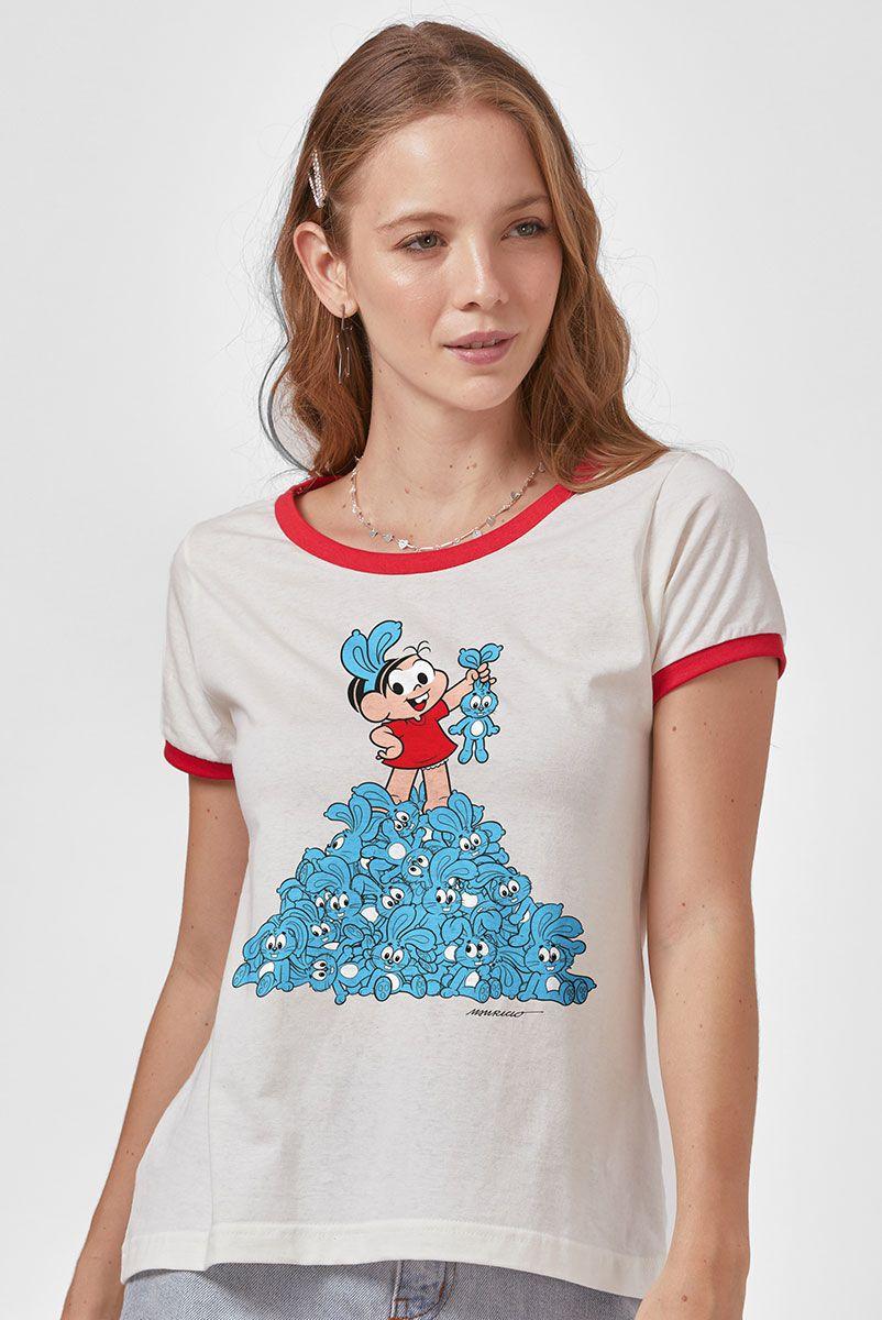 Camiseta Ringer Feminina Turma da Mônica nas Alturas