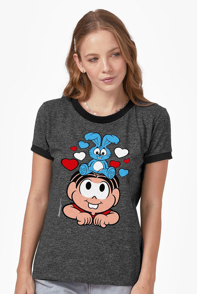 Camiseta Ringer Feminina Turma da Mônica Sansão e Mônica Amigos