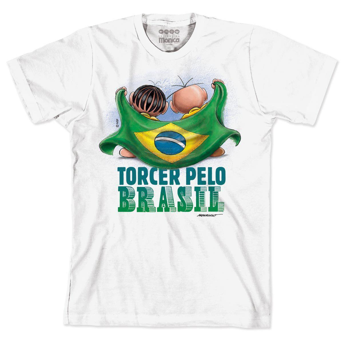 Camiseta Turma da Mônica - Mônica e Cebolinha Torcendo Pelo Brasil 2