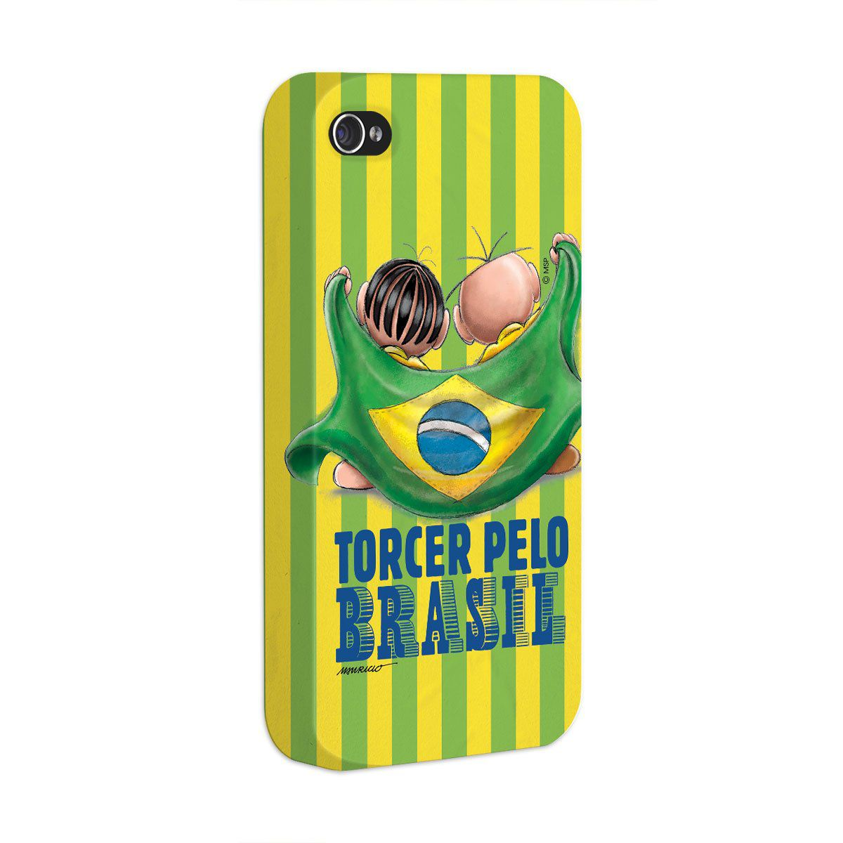 Capa de iPhone 4/4S Turma da Mônica - Mônica e Cebolinha Torcendo Pelo Brasil