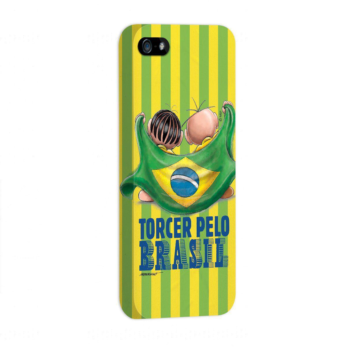 Capa de iPhone 5/5S Turma da Mônica - Mônica e Cebolinha Torcendo Pelo Brasil
