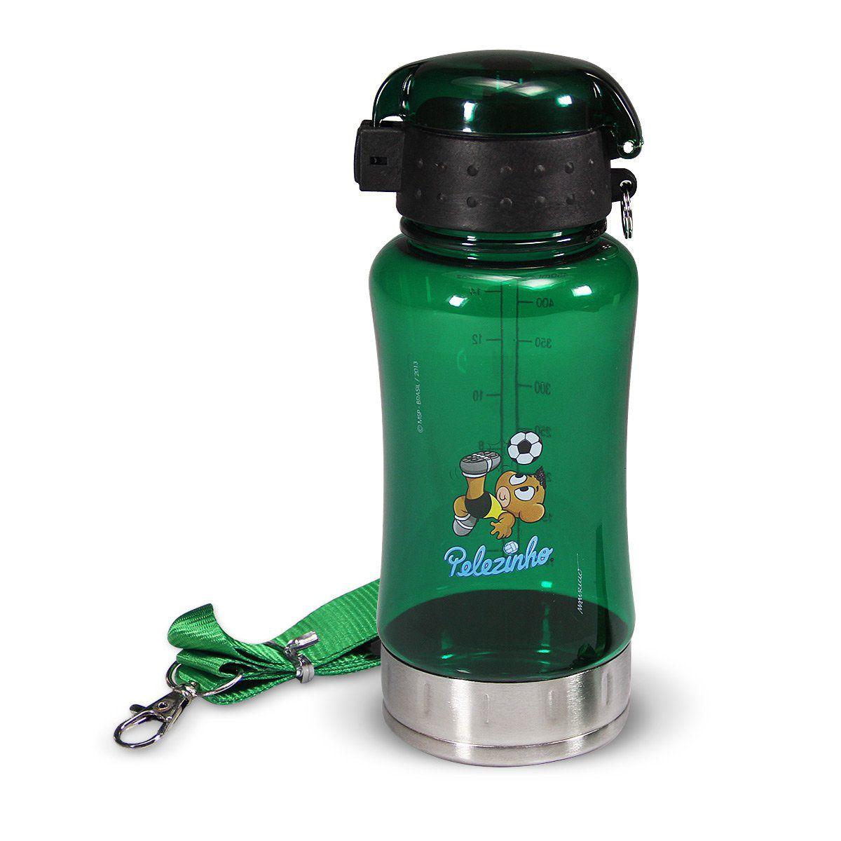 Garrafa Infantil de Plástico Transparente Verde Turma da Mônica - Pelezinho