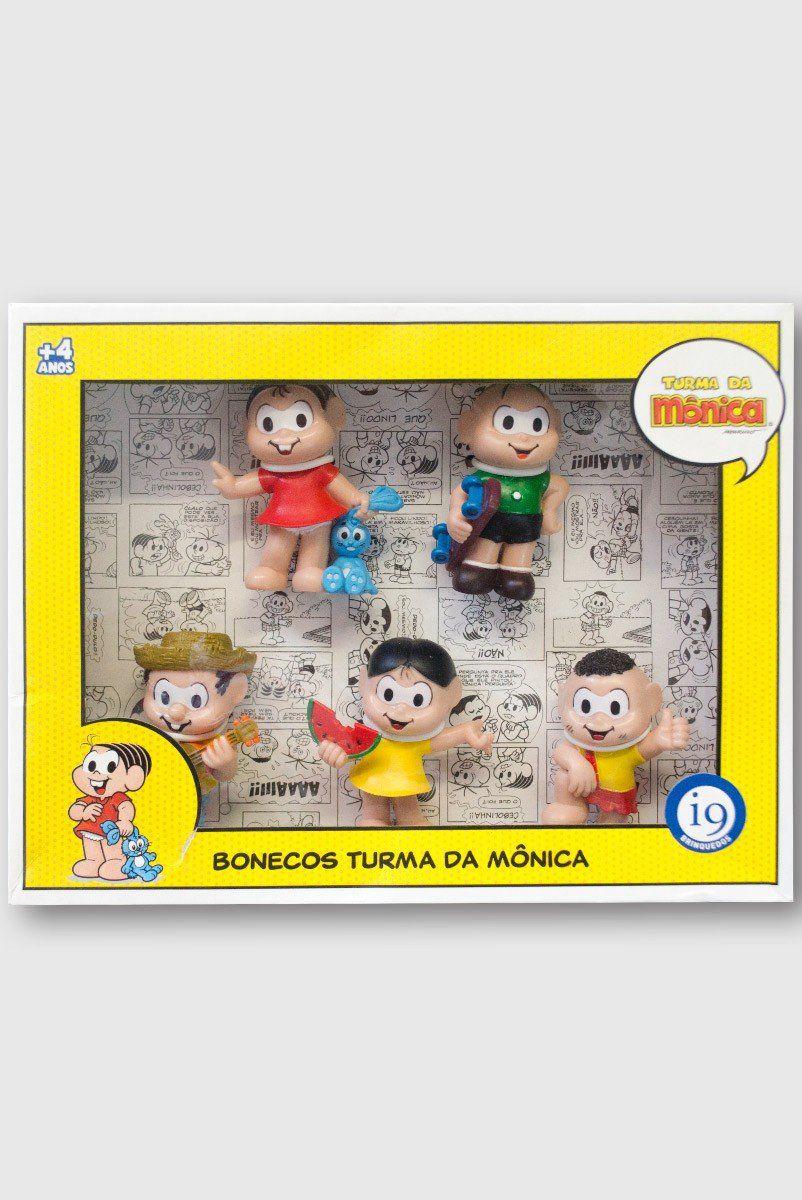 Kit Bonecos Turma Da Mônica - Mônica, Cebolinha, Chico Bento, Magali e Cascão
