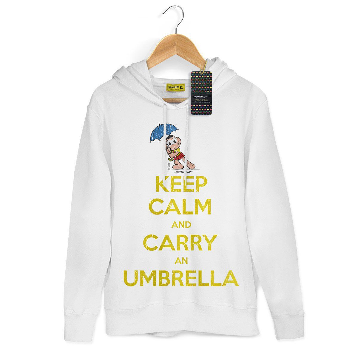 Moletom Branco Turma da Mônica Cool Keep Calm And Carry An Umbrella