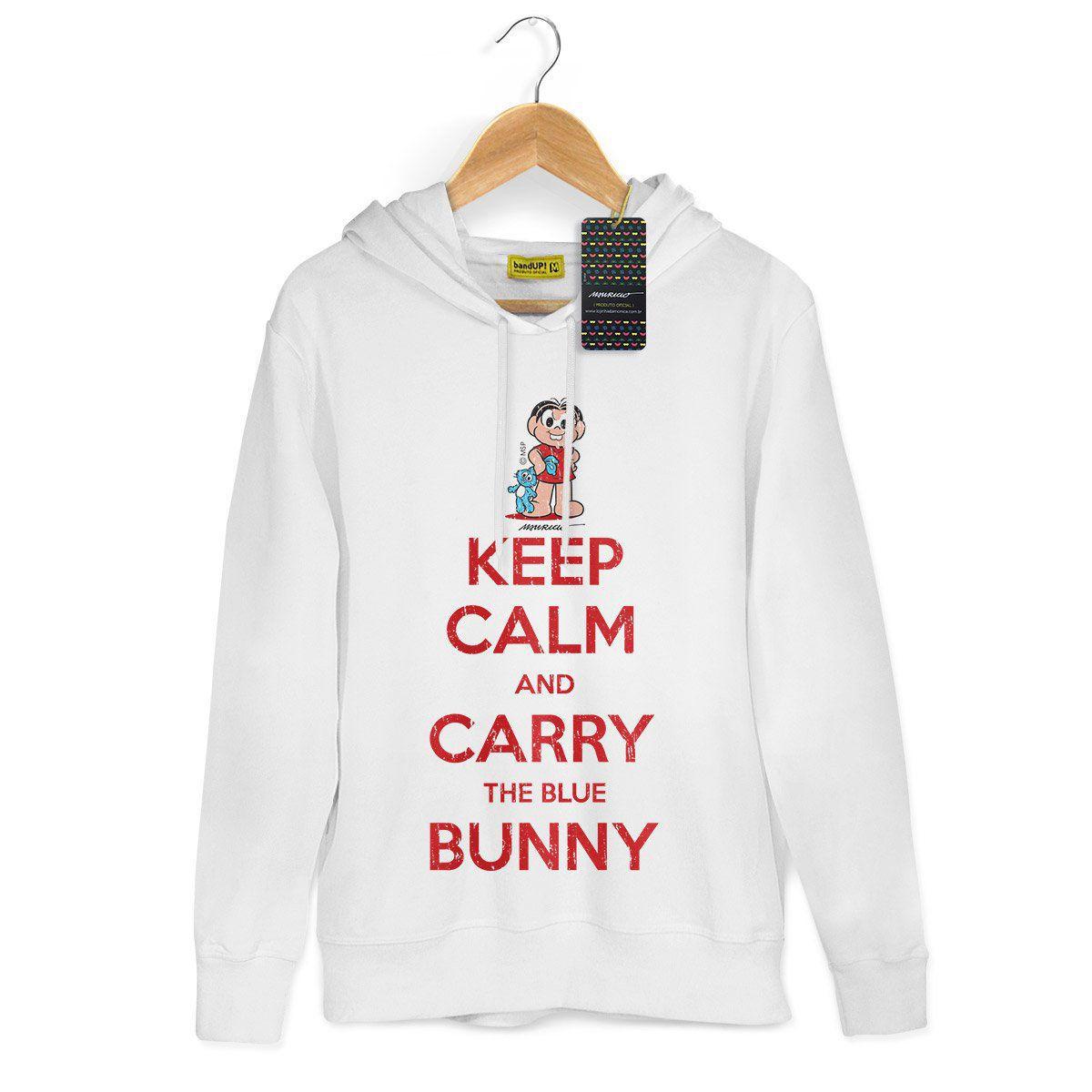 Moletom Branco Turma da Mônica Cool Keep Calm And Carry The Blue Bunny