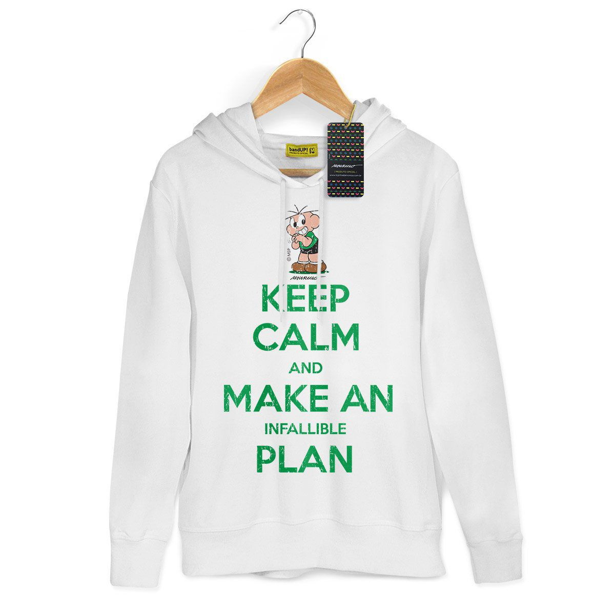 Moletom Branco Turma da Mônica Cool Keep Calm And Make An Infallible Plan