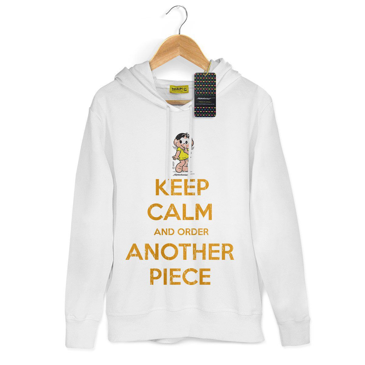 Moletom Branco Turma da Mônica Cool Keep Calm And Order Another Piece