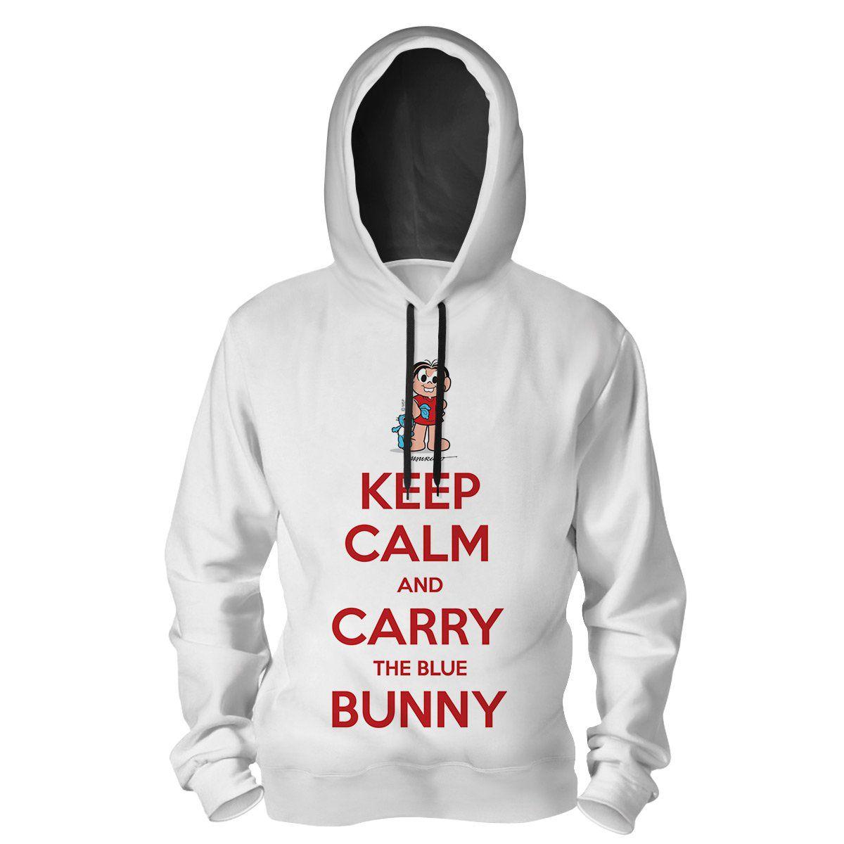 Moletom Turma da Mônica Cool - Keep Calm And Carry The Blue Bunny