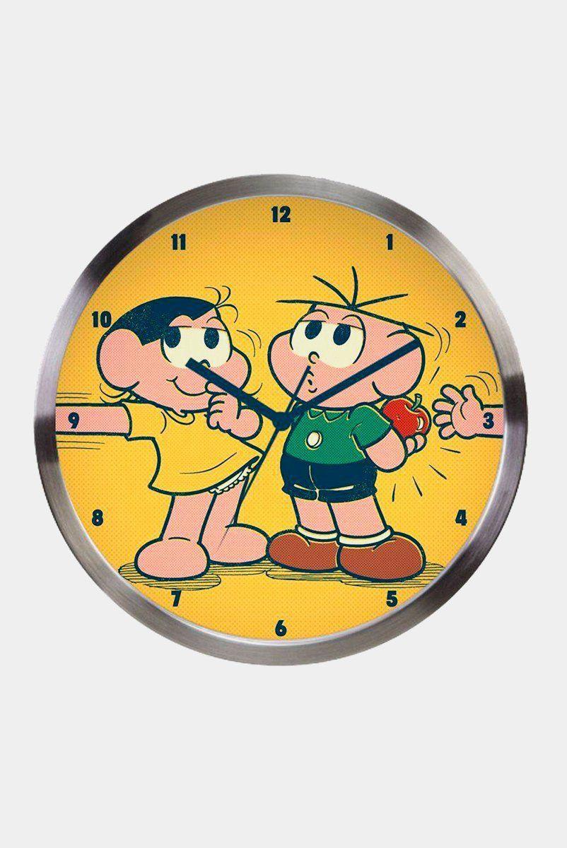 Relógio de Parede Turma da Mônica Magali e Cebolinha Maçã