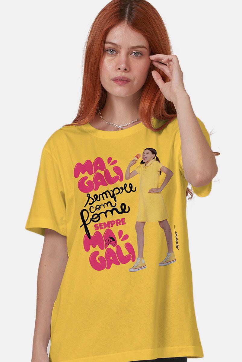 T-Shirt Feminina Turma da Mônica Laços Magali Sempre com Fome