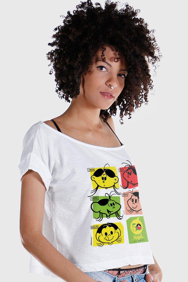 T-Shirt Premium Feminina Magali 50 Anos Evolução Colors