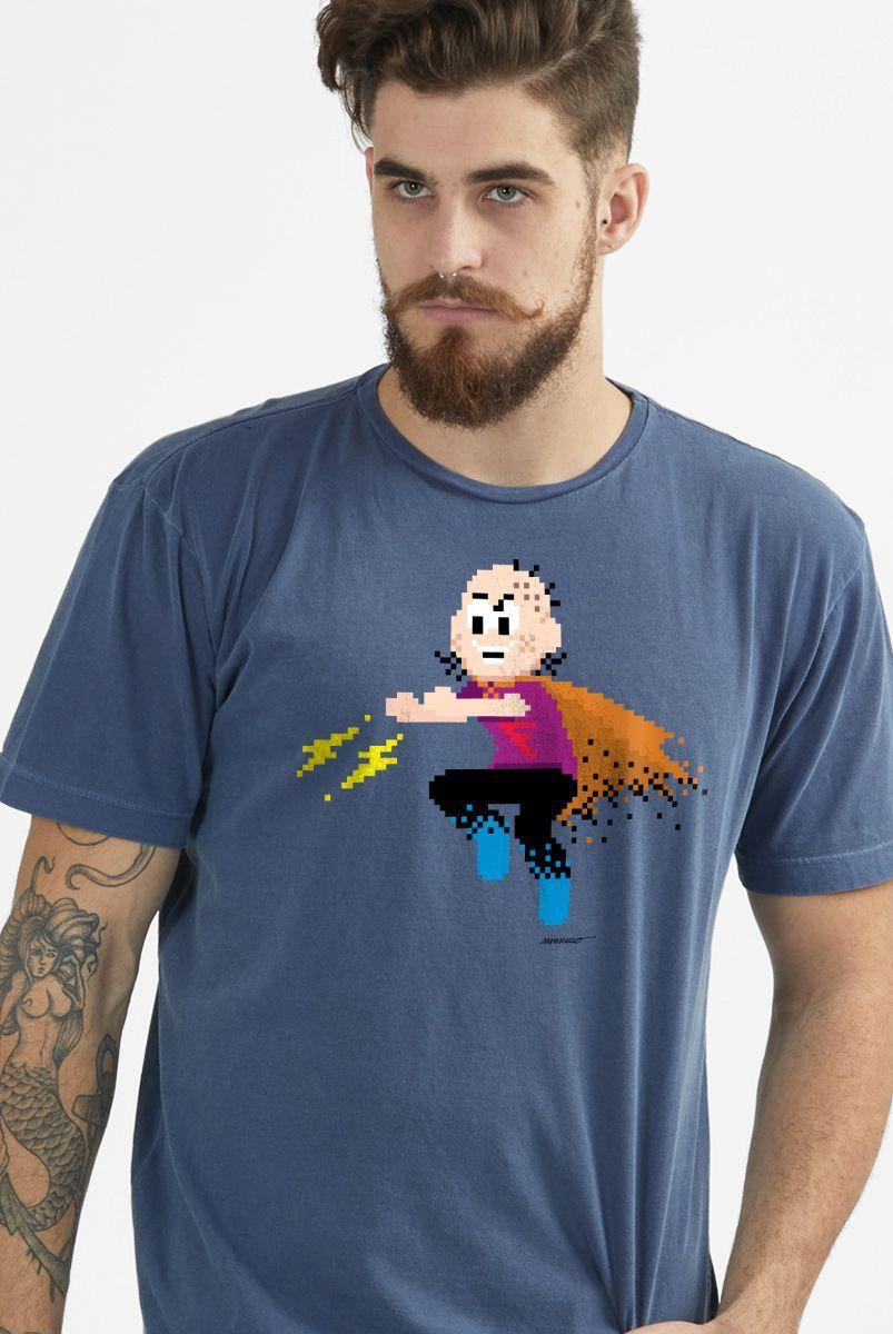 T-shirt Premium Masculina Turma da Mônica Capitão Feio Pixel