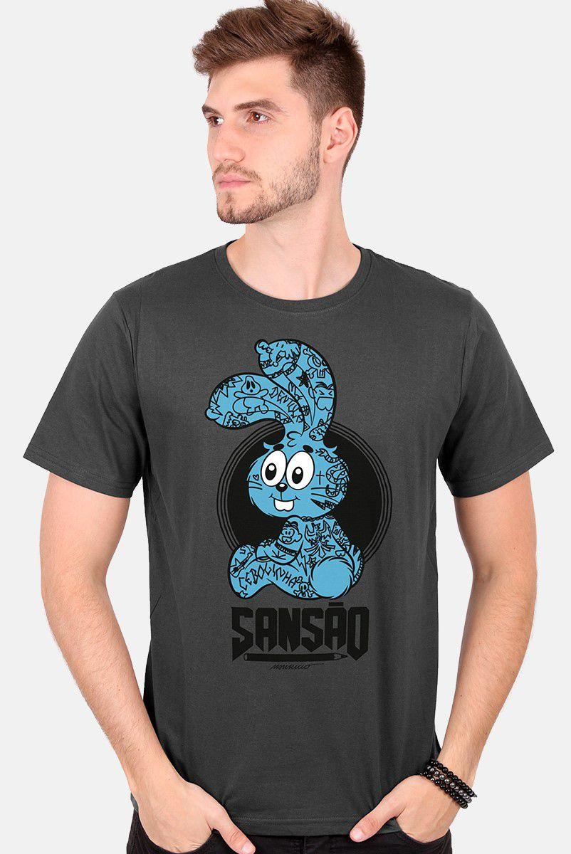 Camiseta Masculina Turma da Mônica Sansão Tatuado