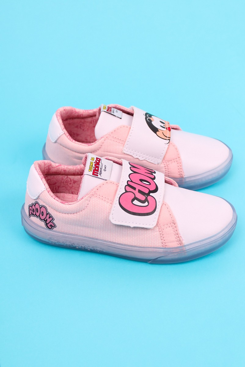 Tênis com Velcro Turma da Mônica Dot Pink