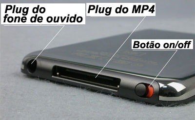 MP4 Player 4GB + Videos + Fotos + Gravador+ MP3+ RADIO-PRETO