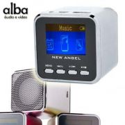 Mini Caixa de Som P/ Pen Drive MP3 USB Microsd Radio TEL LCD - Prateado