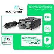 Adaptador Inversor Conversor Veicular 12V P/ 220 V USB Tomada 150W