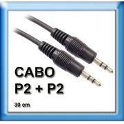 Cabo Auxiliar P2 + P2 para Celular iPod iPad MP3 MP4 GPS ETC