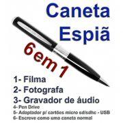 Caneta Espia Que Filma, Fotografa Colorido e Grava AUDIO- Detalhes Prateados