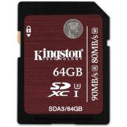 Cartao de Memoria Kingston 64GB SDXC UHS-I Classe 3 U3 - SDA3/64GB