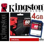 Cartao de Memoria SDHC 4GB Kingston ORIGINAL-VIDEO 60 MIN HD