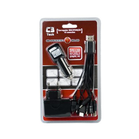 Kit Carregador 10 X1 de Parede + Veicular P/ Celular iPhone Galaxy GPS Games - Marca C3TECH