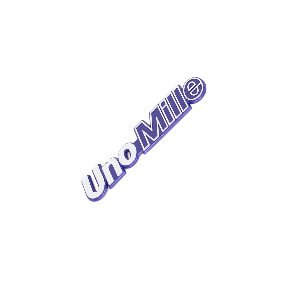 Emblema Uno Mille Cromado Fundo Azul