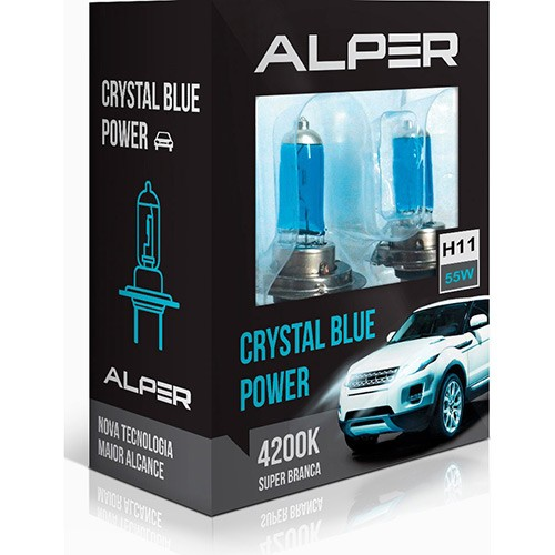 Lâmpada Super Branca Alper Crystal Blue Extreme H11 4200K