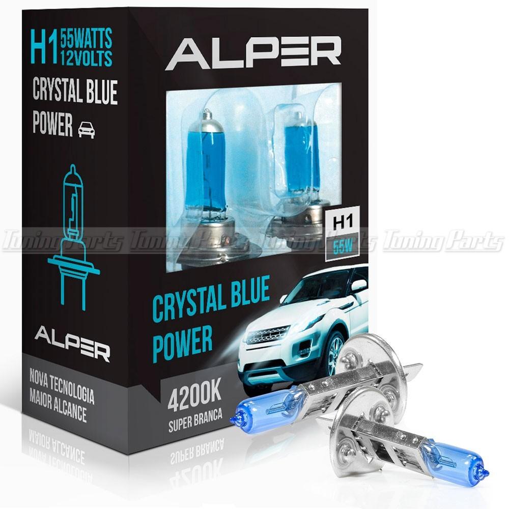 Lâmpada Super Branca Alper Crystal Blue Extreme H1 4200K