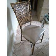 4 Cadeiras Indiana Amêndoa Courino Bege Adejos + Frete