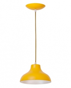 Pendente Estância Alumínio Pintado 1 Lâmpada Amarelo Madelustre