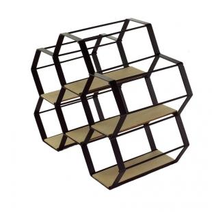 Adega Metal Madeira Hexagon Preto Urban