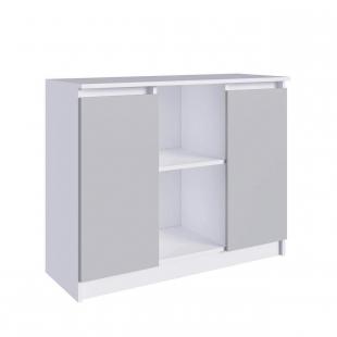 Aparador Credencia 2 Portas Branco/Cinza M.com