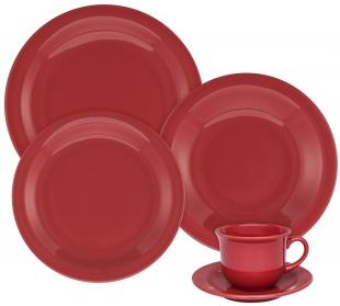 Aparelho Jantar Chá Floreal Vermelho 30pc Oxford