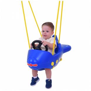 Balanço Avião com cordas Azul Xalingo
