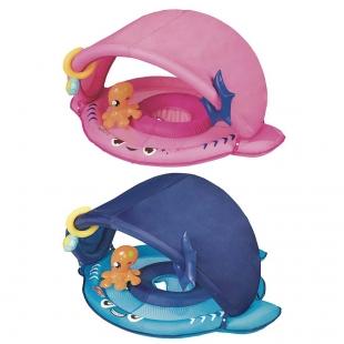 Bóia Infantil Tubarão Fralda e Para-Sol Azul ou Rosa Mor