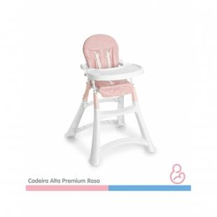 Cadeira de Papá Alta Premium Rosa  Galzerano