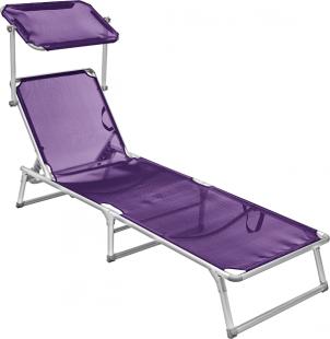 Cadeira Espreguiçadeira Roxa Textilene Alumínio com Tapa Sol Belfix