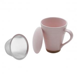 Caneca Ceramica C/Infusor Romance Rosa 300ml Rojemac