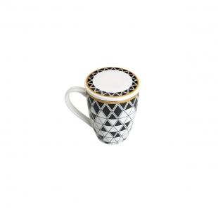 Caneca de Porcelana 310ml Super White C/Tampa e Filtro Olimpia Preto/Branca C/Caixa de Presente Lyor